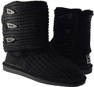 Women's Knit Tall Shearling Boots 658-W (8, Black)