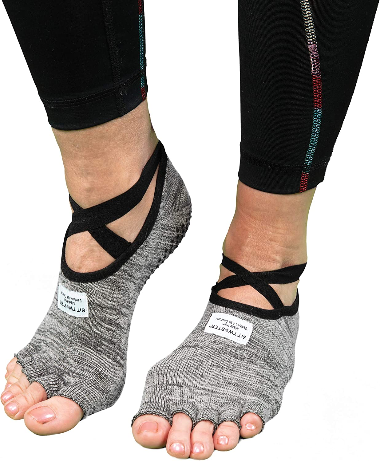 SIT TWISTER Exercise Socks - Performance Sport Socks with Grips - Use for Yoga, Pilates, Working Out & More - Made with All-Natural Hygenic Bamboo Charcoal Powder (Cotton & Spandex, Grey)