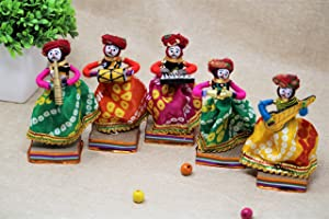 JH Gallery Recycled Material Rajasthani Musician Bawla Puppets Male Idol (11x28 cm Multicolor) -5 Piece