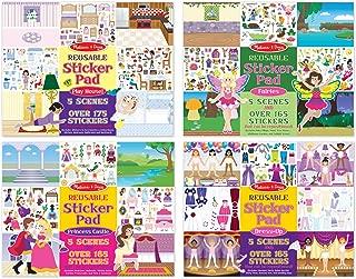 Melissa & Doug Reusable Sticker Pads Set: Fairies, Princess Castle, Play House, Dress-Up - 680+ Stickers
