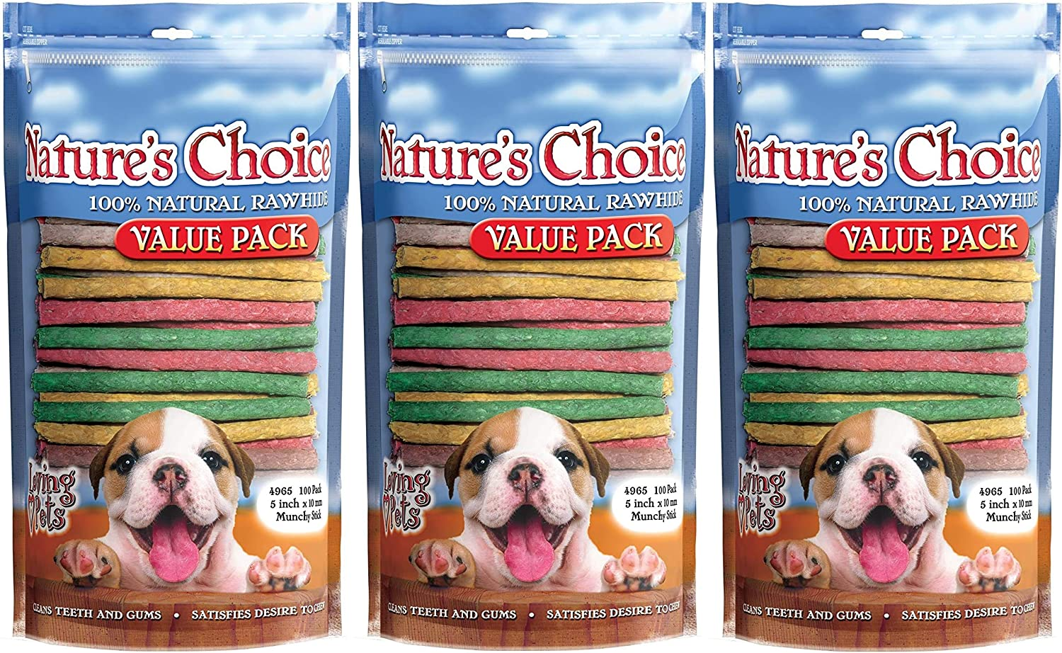 Loving Pets 3 Pack All items free shipping of Nature's Natural Munchy Overseas parallel import regular item Sti Choice Rawhide