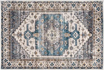 DECOMALL FINEEN Door Mat 2'x3' Throw Rugs Persian Medallion Carpet for Entryway Laundry Room Beige Blue Multi