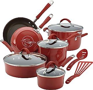 مجموعه وسایل آشپزی Rachael Ray 16339 ، 12 تکه ، قرمز زغال اخته