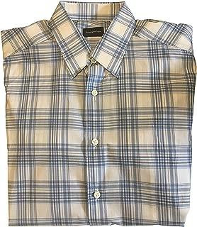 Ermenegildo Zegna Blue White Plaid Dress Shirt Size Medium