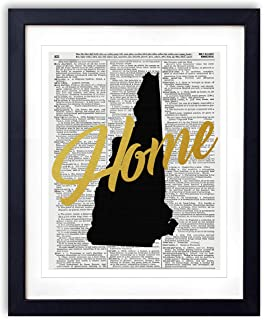 New Hampshire Home Gold Foil Art Print - Vintage Dictionary Reproduction Art Print