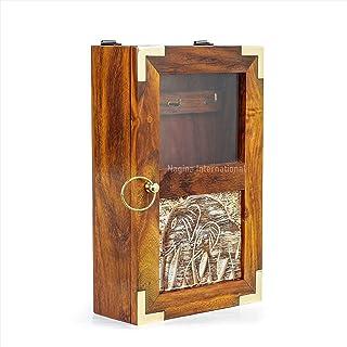 Hand Crafted Premium Wooden Key Box | Elephant Wood Carving | Keys Hanging Cabinet | Nagina International