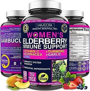 Women's Immune Support Booster Supplement [7-in-1] with Elderberry, Vitamin C, Zinc, Garlic, Echinacea, Turmeric & Vitamin...