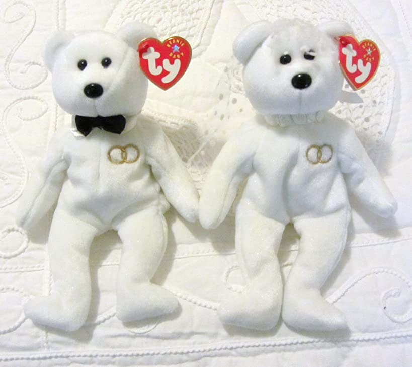 Ty Beanie Baby Mr and Mrs Bear Bride and Groom Wedding Teddy Set of 2