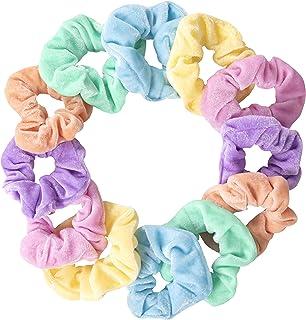 Premium Velvet Pastel Hair Scrunchies For Women or Girls Hair Accessories - Great Gift for Holiday Seasons or Teen Birthday (12 Pack)
