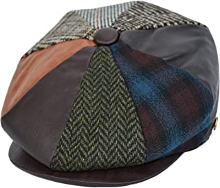 fa95c5415eabe Men's Wool Newsboy Cap, Herringbone Driving Cabbie Tweed Applejack Golf Hat