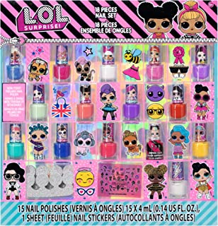 Townley Girl L.O.L. Surprise! Non-Toxic Peel-Off Nail Polish Set for Girls, Glittery and Opaque Colors, with Toe Spacers a...