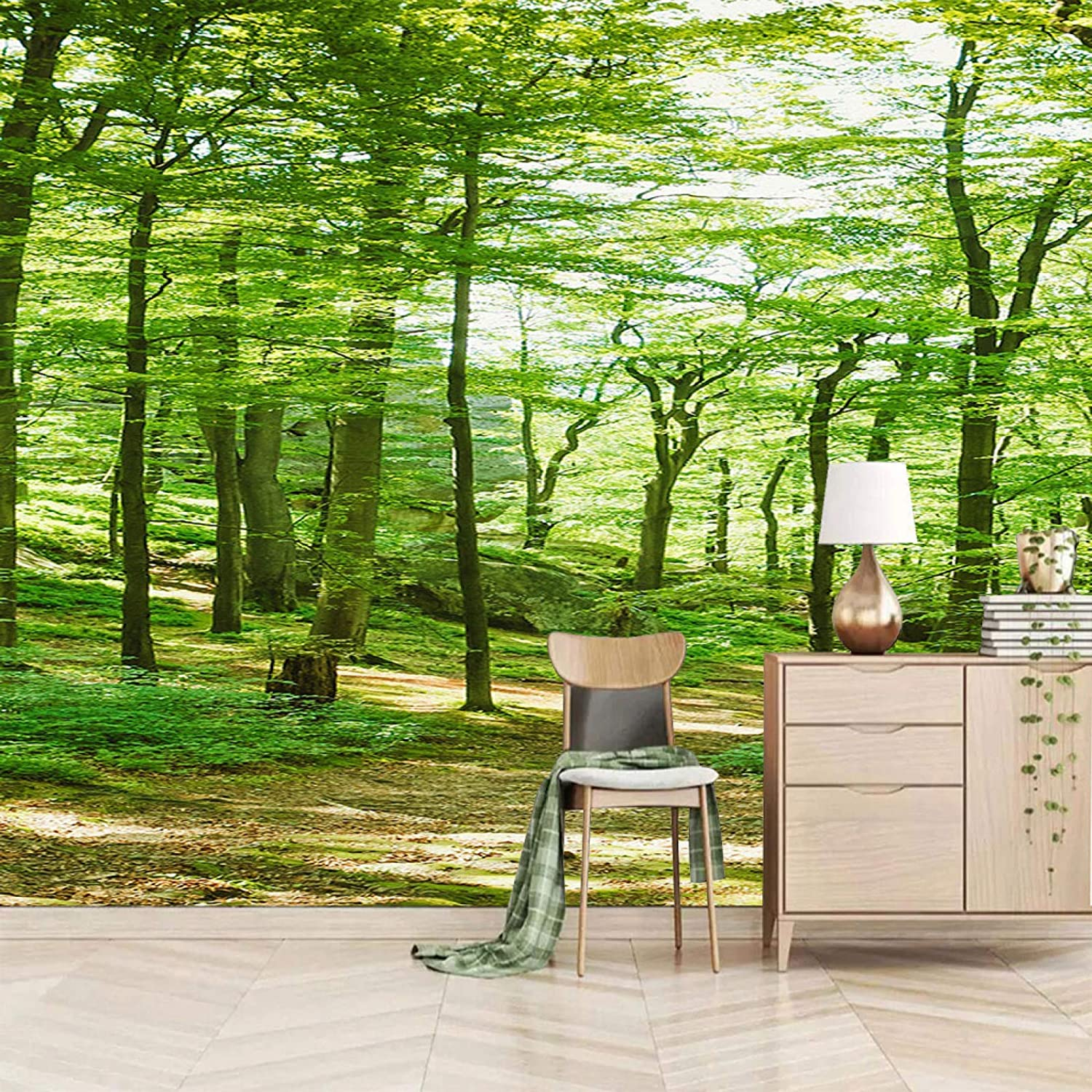 XiaoCha San Antonio Mall Green Plants Large-scale sale Woods 3D Stickers Self-Adhesive Wall