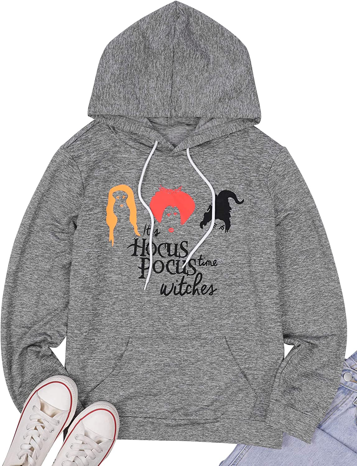 It's Women Hocus Pocus Time Witches Halloween Hooded Sweatshirt Sanderson Sister Graphic Long Sleeve Pocket Pullover Tops