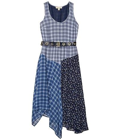MICHAEL Michael Kors Print Mix Tank Top Dress (Chambray) Women