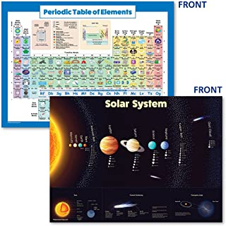 Palace Learning Laminated Solar System Poster & Periodic Table of Elements Chart for Kids (2019) - 2 Poster Set (18 x 24)