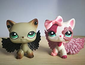 USA Warehouse Hasous LPS Shorthair Cat 391 2291 Grey Blue Eyes White and Pink Siamese Kitty Kitten with Accessories Wings Bow Action Figure Kids Boys Girls Xmas Gift