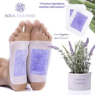 Soul Cleanse | 20 Premium Lavender Foot Pads | 100% Organic Ingredients | Ease Stress and Pain | Sleep Deeper with The Power of Lavender and Fight Foot Odor | Relax The Soul and Cleanse The Body