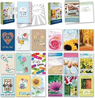 20 Count Boxed Cards w/Envelopes - Bulk Get Well Greeting Cards w/Sentiments Written Inside. Envelopes Included - 4