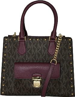 MICHAEL Michael Kors Women's Bridgette Studded Medium Tote Leather Handbag (Brown/Plum)