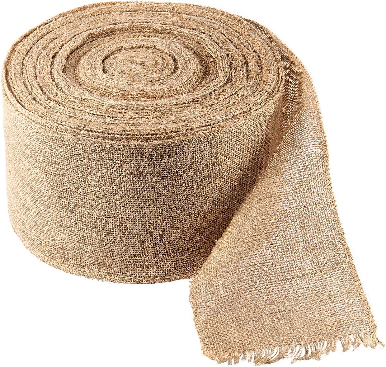 ZOENHOU 6 Inch 54 Yard Max 66% OFF Natural Fabric Ranking TOP16 Jut Ribbon Burlap
