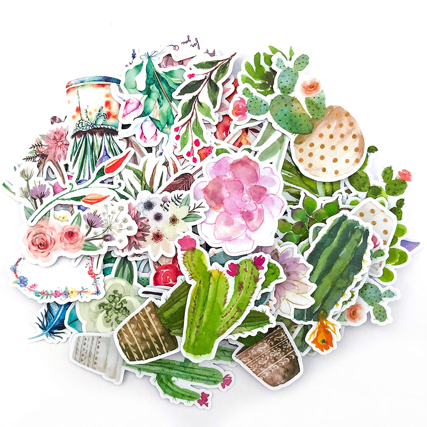 Navy Peony Watercolor Flower,Cactus and Succulent Plants Sticker Pack  Mini Waterproof Decals for Laptops, Water Bottles and Phones  Artsy Floral Stickers for Your Scrapbooking and Bullet Journaling wbqvdlrrifonw327
