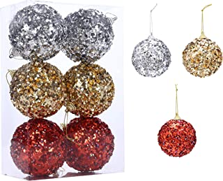 Christmas Balls Ornaments Decoration for 2020 Santa's Factory New Design Dazzling Hanging Xmas Balls Pendants Baubles Set for Christmas Tree Decorations Collections (6ct 3.15