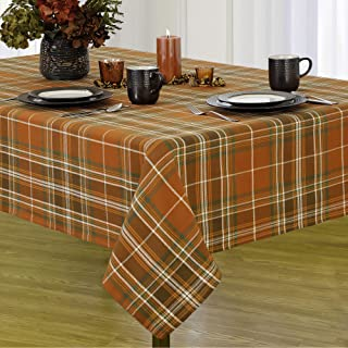 """Elrene Home Fashions Loden Plaid Cotton Tablecloth for Fall/Harvest/Halloween/Thanksgiving, 60"""" x 102"""""""