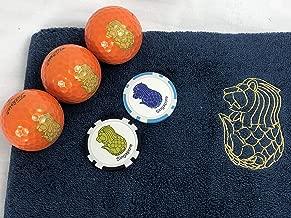 マーライオン ゴルフボール オレンジ(ゴールド)&今治マーライオンタオル(ダークブルー)&マーライオンボールマーク(ブルー・ブラック)セット