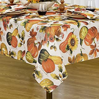 """Elrene Home Fashions Grateful Season Printed Fabric Tablecloth for Fall/Harvest/Thanksgiving, 52"""" x 70"""", Multi"""