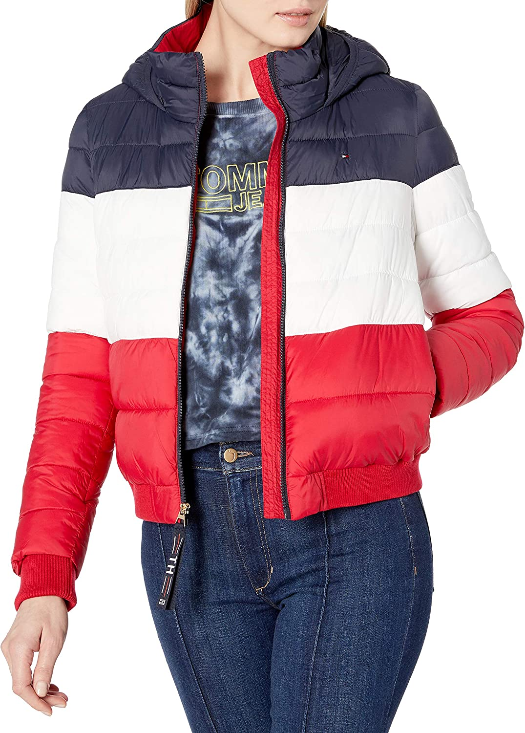 Tommy Hilfiger Womens Cropped Tri-color Jacket