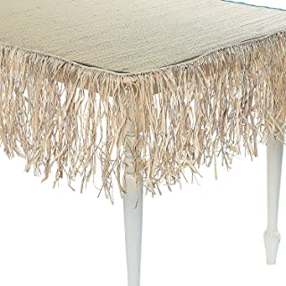 Fun Express Raffia Table Skirt - Thatch | Great for Luau-Themed Event, Beach Party, Birthday Bash, Summer Decoration
