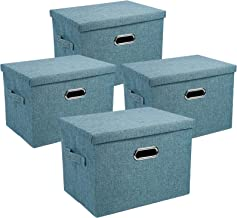 4 Pack Decorative Storage Boxes with Lids Storage Baskets for Shelves, Closet organization Bins for Office, Bedroom, Close...