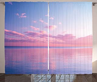 Ambesonne Sky Curtains, Ocean Theme Beautiful Clouds over the Calm Sea at Twilight Digital Print, Living Room Bedroom Window Drapes 2 Panel Set, 108W X 63L Inches, Light Blue Light Pink