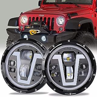 OVOTOR Jeep Headlights LED 7 inch with Halo Ring Amber Turn Signal Lights V Type White DRL Hi Lo Beam for Jeep Wrangler JK TJ LJ CJ Black