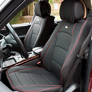 FH Group PU205BLACKREDTRIM102 Seat Cushion (Ultra Comfort Leatherette Front (Airbag Compatible) Red Trim)