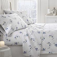 Simply Soft 4 Piece Flannel Sheet Set Rose Patterned, Full, Light Blue
