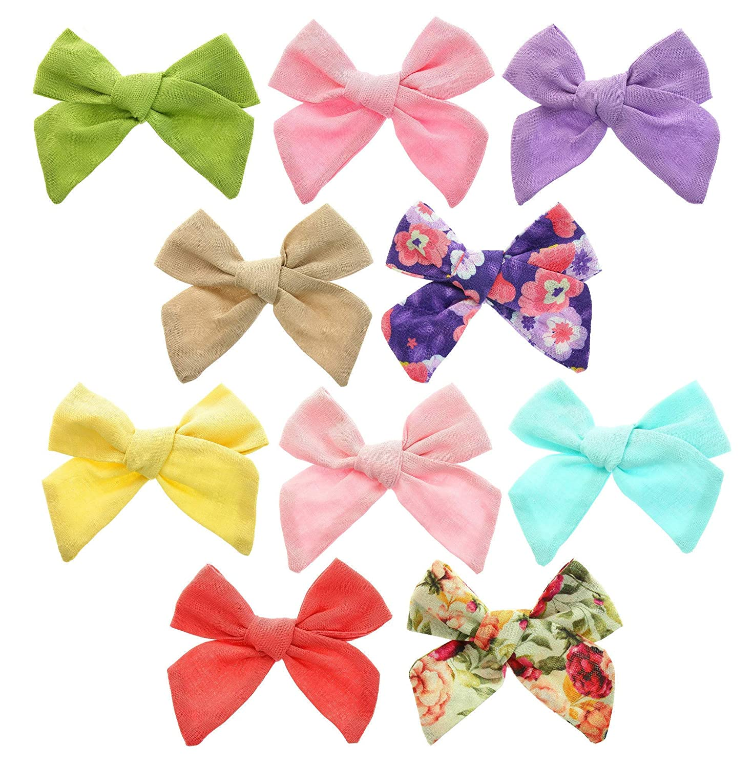 Baby Girls Hair Bows Clips Barrettes Accessory for Infant Toddlers Kids in Multi-Colored Bow Alligator Accessories Little Toddler Teens Children (Linen)
