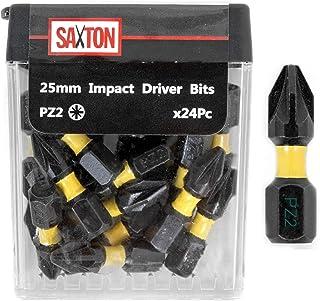Saxton 24x PZ2-25mm Impact Duty Screwdriver Drill Driver Bits Sets Tic Tac Box Dewalt Milwaukee Bosch