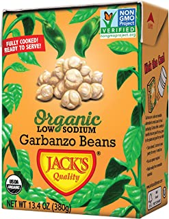 Jack's Organic Garbanzo Beans – Packed with Protein & Fiber, Heart Healthy, Low Sodium, Non GMO, BPA Free, Ready-to-eat, 100% Sustainable Packaging, Easy Open Tearstrip, [8 Pack of 13.4oz cartons]