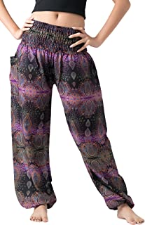 Women's Boho Pants Hippie Clothes Yoga Outfits Peacock Design One Size Fits