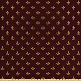 Ambesonne Fleur De Lis Fabric by The Yard, French Pattern European Culture Theme Abstract Vintage Renaissance, Decorative Fabric for Upholstery and Home Accents, 3 Yards, Yellow Burgundy