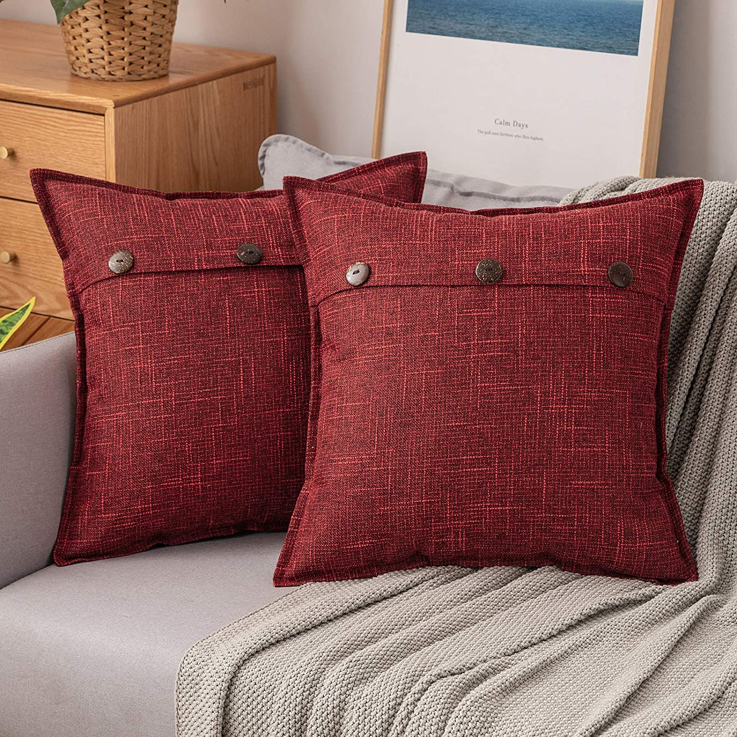 MIULEE Pack of 2 Farmhouse Linen Throw Pillow Covers Decorative Triple Button Square Pillowcases Trimmed Edge Burlap Cushion Cases for Couch Sofa Car Living Room Home Decor 18x18 Inch Wine red