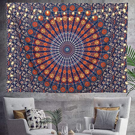 Queen Peacock Mandala Tapestry Wall Hanging Multi-Color Throw Wall Decor Yogam