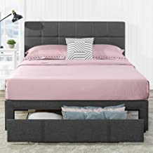 Zinus Lottie Queen Bed Frame with Drawer Storage - Fabric Bed Grey Square Stitched