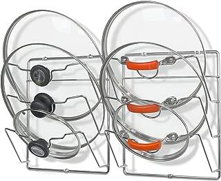 2 Pack - SimpleHouseware Cabinet Door/Wall Mount Pot Lid Organizer Rack, Chrome