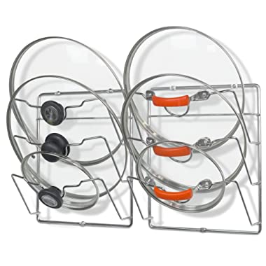 2 Pack - Simple Houseware Cabinet Door/Wall Mount Pot Lid Organizer Rack, Chrome