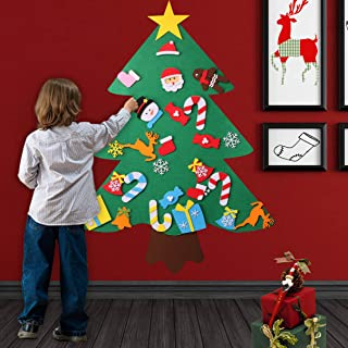 O-heart 3ft DIY Felt Christmas Tree Set + 30pcs Detachable Ornaments, Xmas Gifts for Kids New Year Wall Hanging Christmas Decorations
