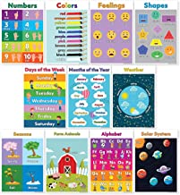 11 Educational Posters for Preschool Learning (Preschool Posters) Classroom Posters Include ABC/Alphabet Poster, Solar System Poster, Shapes Colors Letters & Numbers (Non Laminated) 13X18