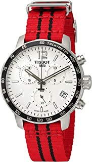 Men's 'Quickster' Swiss Quartz Stainless Steel and Nylon Watch, Color:Red (Model: T0954171703704)