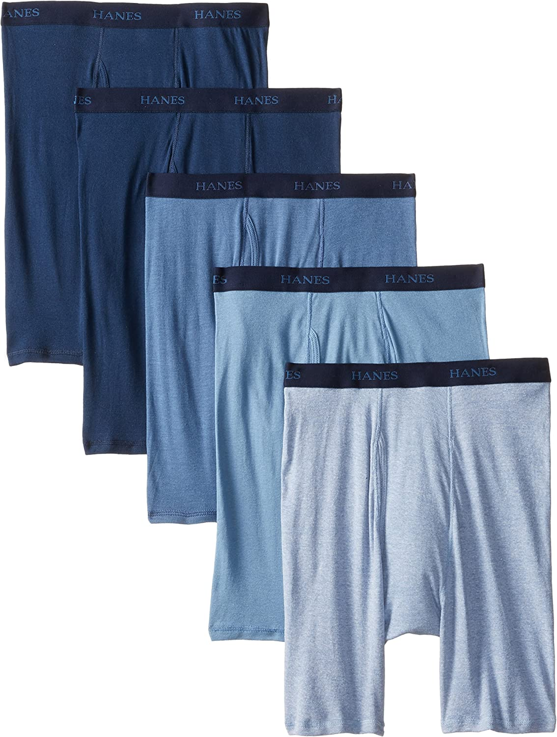 Hanes Ultimate Men's 5-Pack Assorted Long Leg Boxer with ComfortFlex Waistband Briefs